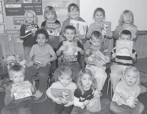 Members of Sarah Campbell's preschool class at Burdine will receive a free book monthly from the Imagination Library. They are (back row, left to right) Makayla Sturgill, Alyssa Collier, Jesse Hamilton, Kaleigh Sturgill, Haley Cook, (middle row) Kayne Hairston, Stonie Amburgey, Mackiah Wright, Maleik Wright, (front row) Zackery Combs, Nazariah Duty, Haylee Thacker and Olivia Kelly.