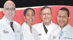The Whitesburg office is staffed by, from left, Dr. Jose Velazquez, Dr. Lilian Thomas, Dr. Michael Antimisaris, and Dr. Denzil Harris.