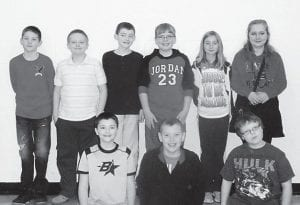 Named to the All Distinguished List at Martha Jane Potter Elementary School are (top, left to right) Carson Adams, Matthew Wilder, Kevin Barriger, Austin Triplett, Sarah McAuley, Lindsay Baker, (bottom) Cade Craft, Luke Goins, and Brayden Mullins.