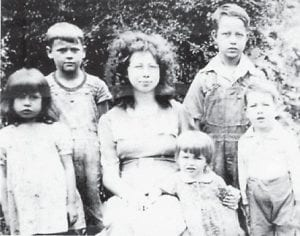 """Ruth Brown, Ralph Brown, Roberta Brown, Russell Brown and Rosalie Brown are pictured in the photograph taken at Marlowe around 1946. Whitesburg correspondent Oma Hatton asks, """"Does anyone recognize the boy second from the left with the striped shirt? I'd like to know. The others are the children of the late Martha and Dewey Brown of Marlowe."""""""