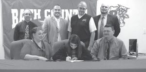 Attending last week's signing ceremony were (front row, from left) Shelia Noble, Sierra Sparks-Noble, Billy Noble, (back row, from left) Bath County Athletic Dirctor Arlen McNabb, Bath County Coach Troy Lee Thomas, Kentucky Christian Coach Ron Arnett, and Bath County Principal Paul Prater.