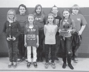 After competing in the 2014 Academic Governor's Cup regional competition, the Jenkins Elementary School academic team is this year regional Quick Recall champion. Pictured are (left to right, back row) T.J. Thompson, Makala Stambaugh, Austin Johnson, Mickey Ward, (front row) Julie Kiser, Arianna Bentley, Abigail Bentley and Delaney Johnson. The team is coached by Lynn Gillilam.