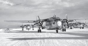 The C119F Flying Boxcar transport plane (seen above and at right) was very popular during the Korean War era and was praised for its ability to move heavy equipment and arms as well as U.S. troops. Two soldiers from Letcher County were killed March 30, 1954, when one of the planes crashed into a mess hall at Ft. Bragg, N.C. (AP photos)