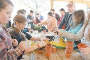 Students at Arlie Boggs Elementary School in Eolia worked with Southeast Kentucky Community and Technical College students to prepare soil and vegetable plants for the potting process.