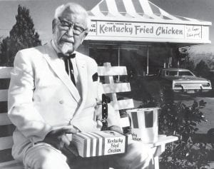 At left is the late Colonel Harlan Sanders. Above is former Kentucky governor John Y. Brown Jr.