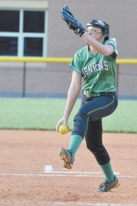 Jenkins pitcher Caitlynn Estivez stared down a Letcher County Central High School batter during the Lady Cavs' 16-5 win recently in a 53rd District and 14th Region contest. (Photo by Brandon Meyer)