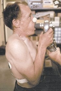 This June 1974 photo shows a miner at the Black Lung Laboratory at ARH hospital in Beckley, W.Va, having his lung capacity tested to determine whether he has the disease.