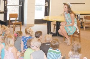 Miss Kentucky USA Destin Kincer spoke with students at West Whitesburg Elementary School Monday morning after reading to them from a book. (Photo by Sally Barto)