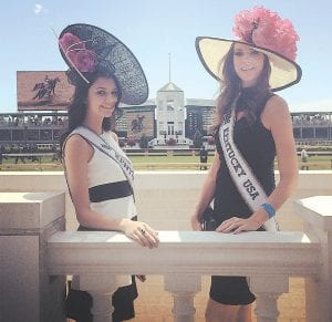 Miss Teen Kentucky USA Megan Ducharm and Miss Kentucky USA Destin Kincer (right) of Letcher County are pictured at Churchill Downs in Louisville on Derby Day.