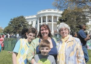 Jeanette Ladd (right), her daughter, Lisa Ladd-Moe, and grandchildren Kieran Moe, 10, and Tristan Moe, 7, were photographed at the 136th annual White House Easter Egg Roll last month.