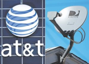 The AT&T logo is seen on the side of a corporate office in Springfi eld, Ill., left, and a DirecTV satellite dish sits atop a home in Los Angeles.