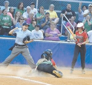 A Jenkins runner was called out at the plate on this close play during the Lady Cavaliers' 3-2 defeat at the hands of Powell County. (Photo by Brandon Meyer,