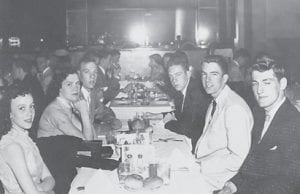 Clockwise from left are Alice Richardson, Pat Bentley, Raymond Phillips, Don Meade, Dave Spence and Billy Jo Hall. This picture taken at the Lotus Restaurant on May 2, 1957 during the senior trip. It is from a Facebook posting by Dave Spence.