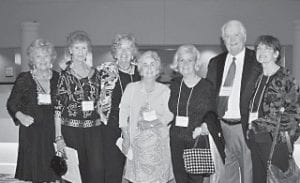 "CAROL F. BROWN ('58), JACKIE COMBS OWENS ('47), ANN DANIEL HALL ('56), CAROL COMBS DAUGHERTY ('47), KAY ""BUGGS"" DANIEL PRICE ('61), DON HUGHES ('55) and ROSEMARY COLLIER BROOKS ('58)"