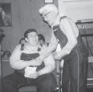 Bro. David Miller, who will speak at Whito Pentecostal Church on Friday, June 27, is seen with the late Bill Howard, father of Whitesburg correspondent Oma Hatton, in a picture made some time ago.