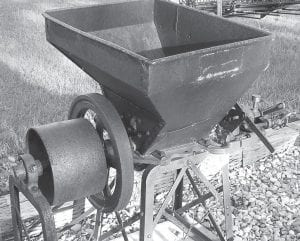 Smaller antique mills like this one are operated by a tractor and can be seen for sale frequently on the Internet.