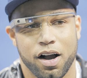 The Seattle Seahawks' Golden Tate wore Google Glass during media day for the NFL Super Bowl XLVIII football game in Newark, N.J. (AP Photo)
