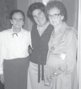 """Rhoda Asher of Letcher, and Rebecca Winchell of Jenkins, are pictured in 1985 when they were residents of Golden Years Rest Home in Jenkins. With them is Whitesburg correspondent Oma Hatton, who calls them her """"adopted grandmothers."""""""