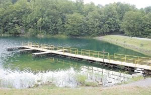 A fishing and boat dock located near the main shelter at Fishpond Lake at Payne Gap has new decking. Other improvement projects are underway. (Photos by Sally Barto)