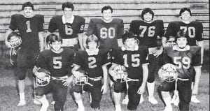 The 1984-85 senior football team members were (back row, left to right) Tim Smith, Mike Craft, Ronnie Bowling, Derrick Cook, Billy Collier, (front row) Tim Howard, Scott Brown, Larry Cook and Roger Carter. Tim Smith was named All EKMC, Offense Kicking Specialist, Honorable Mention All State; Roger Carter was All EKMC, Defense; Tim Howard was All EKMC, Defense; and Billy Collier was All EKMC, Offense.