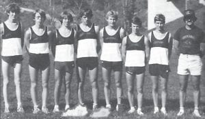 Pictured are the members of the 1984-85 boys' cross country team.