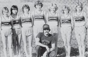 Pictured are the members of the 1984-85 girls' cross country team.