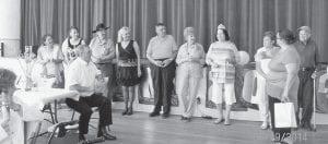 The Kings and Queens of the seniors prom were (left to right) Linda Curry, Carmen Brock, Carl Parrott, Debbie Miranda Bradley, John Smith, Mary Pritcher, Eula Miller, Linda Jones, Lonzo Caudill and Doris Miller.