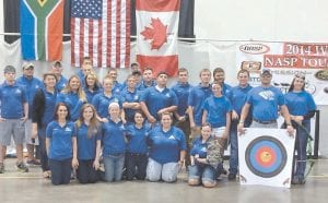 The Letcher Central HIgh School archery team has again placed eighth in world competition. Pictured are (front row, from left) Kirsten Gibson, Holly Baker, Katelyn Back, Kiara Hollifield, Brandi Whitaker, Brittany Whitaker, (second row) Gracia Wright, Hallie Stamper, Jackson Adams, Dylan Wright, Tyler Cornett, Whitney Stamper, Coach Mike Sexton, (third row) Hayley Mchone, Madisyn Sexton, Nick Stevens, Tyler Daylong, Austin Eversole, Aaron Creech, Lakelyn Cole, (fourth row) Ethan Davis, Cody Hampton, Seth Boggs, Peyton Harvey, Dakota Fernandez, Joseph Eillish, Colton Riffe and Austin Whitaker.