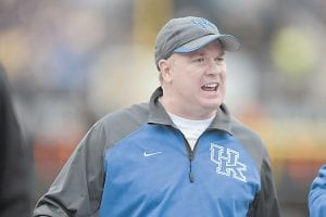 Kentucky head football coach Mark Stoops expects improvements during his second season with the Wildcats. (AP Photo)