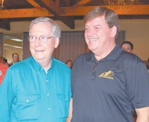 Senator McConnell posed for a photo with Letcher County Judge/ Executive Jim Ward after the address to voters. (Photo by Sally Barto)