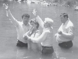 The baptism of the late Dorothy Gene Miles took place April 27, 1986. Officiating were Bro. Jack Howard, the late Bill Howard, and Bro. Larry David Caudill.