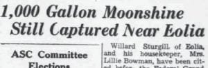 The finding of the still was the lead story in the August 26, 1954 edition.