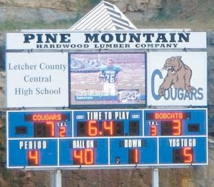 This screenshot taken from a website sponsored by a company that installs video scoreboards shows the Letcher County Central High School board when it was in fully operational condition. The board is down since being struck by lightning.