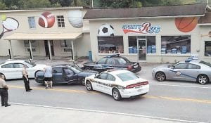 Local and state police cruisers surrounded the 2002 Hyundai driven by Bradley Alexander Medows after Meadows led officers on a high-speed chase that began in Pike County, moved into Virginia, and ended at Pine Mountain Junction in Whitesburg early Sunday night. Meadows faces 10 charges, six of them felonies.