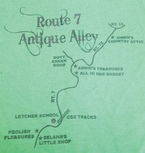 This imprint from a T-shirt shows where the stores that make up 'Antique Alley' are located along KY Highway 7.