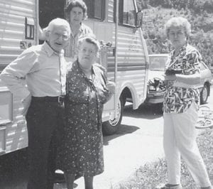 """The late Bill and Cindy Howard are shown with Oma Hatton and Anna L. Watkins of Florida, who came with her son Ben and his wife for a vacation at Carr Creek Lake. Oma Hatton said, """"We sure enjoyed it. It's been a long time. She's been my friend for way over 50 years. We keep in touch."""""""