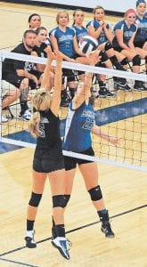 LCC'S Kim Meade is pictured again, this time firing the ball across the net during the win over visiting Shelby Valley.