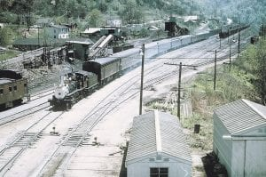 The Clinchfield No. 1 and its famed excursion train entered Elkhorn City with brakes smoking after coming down the steep grade. (Photo from the David Kistner Collection)