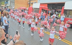 Martha Jane Potter school's Lil' Tweets cheer squad shook their pom poms during Saturday's parade.