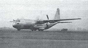 The YC-130 lands during its ferry flight from Burbank to Edwards Air Force Base Aug. 23, 1954. (U.S. Air Force photo)