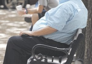 An overweight man rested on a bench in Jackson, Mississippi recently. Rising numbers of American adults have the most dangerous kind of obesity, belly fat, despite evidence that overall obesity rates may have plateaued, government data shows. Abdominal obesity affects 54 percent of U.S. adults, versus 46 percent in 1999-2000, and the average waist size crept up an inch, too, according to the most recent statistics. (AP Photo)