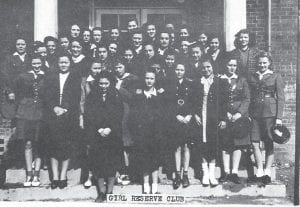 Girl Reserves Club — Pictured are (first row) Mary Bentley, Helen Wood, (second row) Pearl Gambill, Juanita Whitaker, Mary Rash, Doris Hale, Louise Crase, Barbara Pass, Alice E. Elovitz, Doris Bentley, Mae Gambill, (third row) Roberta Whitaker, Nell Dale, Irene Harvath, Vera Mullins, Anna Mae Knox, Ida Mae Welch, Grace Trinkle, Coleen Elliot, Anna Harvath, Betty Kazee, (fourth row) Pauline Stapleton, Virginia Blankenship, Maxie Reynolds, Frances Fields, Pearl Welch, Gaynelle Hancock, Mildred Peterson, (fifth row) Marie Bartley, Arlena Knox, Mable Wright, Pearl McMillan, Norma Wright, Julia Frazier, Ruth Harvath, (sixth row) Elizabeth Goodson and Dimple Anderson.