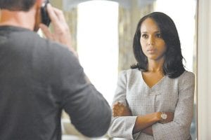 """This publicity image shows Kerry Washington in a scene from """"Scandal."""" The series is one of three by Shonda Rhimes that will air on Thursdays. (AP Photo/ABC)"""