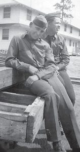 Wesley Yonts (foreground) posed with an Army buddy in the days before things got serious after the Japanese bombed Pearl Harbor.