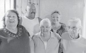 Alberta Barker, Fleta May Brown, Hazel Hart, Ivan Hatton and Vickie Underwood are pictured at the Hatton reunion held in August.