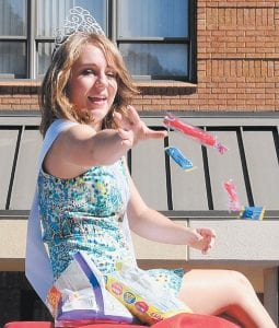 Miss Mountain Heritage Tayler Fleming tossed candy during the parade.