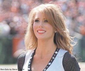 Mountain Heritage Festival award recipient Sarah Gilliam is photographed in action with the Ben-Gals cheerleading squad for the Cincinnati Bengals football team.
