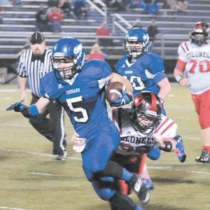 Letcher County Central senior Hunter Hall broke a tackle deep in Whitley County territory during the Cougars' senior night victory on October 24. The Cougars finish their regular season this Friday at Breathitt County. (Photo by Chris Anderson)