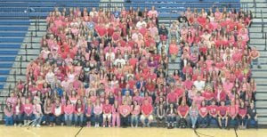 Much of the student body at Letcher County Central High School wore pink Monday as a show of support to their late classmate Casey Begley who died Friday.