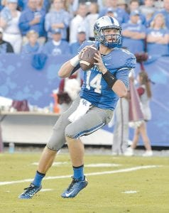 Kentucky quarterback Patrick Towles is seen in action during the second quarter of UK's 45-31 loss to Mississippi State. (AP Photo)